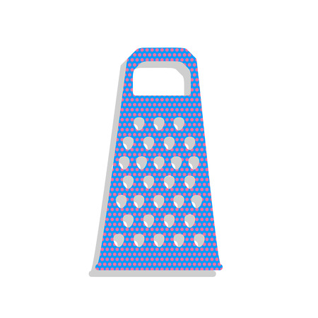 Cheese grater sign. Vector. Neon blue icon with cyclamen polka dots pattern with light gray shadow on white background. Isolated.