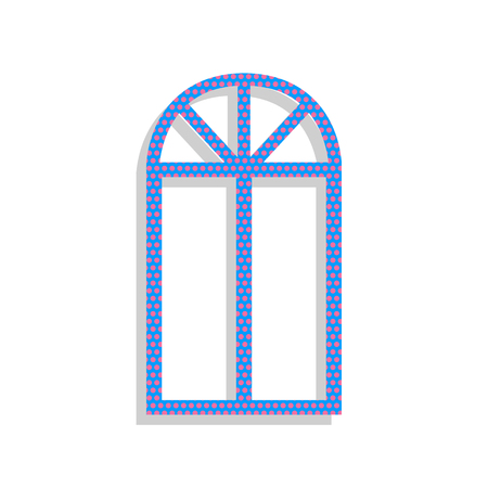 Window simple sign. Vector. Neon blue icon with cyclamen polka dots pattern with light gray shadow on white background. Isolated. Ilustracja