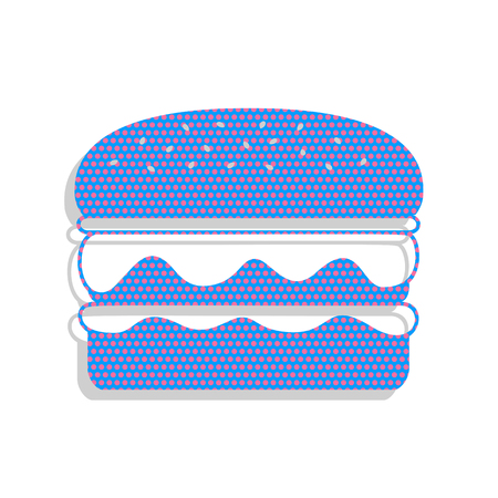 Burger simple sign. Vector. Neon blue icon with cyclamen polka dots pattern with light gray shadow on white background. Isolated.