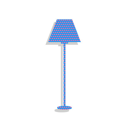 Lamp simple sign. Vector. Neon blue icon with cyclamen polka dots pattern with light gray shadow on white background. Isolated.