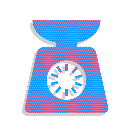 Kitchen scales sign. Vector. Neon blue icon with cyclamen polka dots pattern with light gray shadow on white background. Isolated.