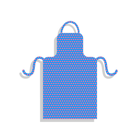 Apron simple sign. Vector. Neon blue icon with cyclamen polka dots pattern with light gray shadow on white background. Isolated.