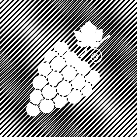 Grapes sign illustration. Vector. Icon. Hole in moire background.  イラスト・ベクター素材