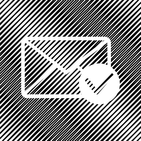 Mail sign illustration with allow mark. Vector. Icon. Hole in mo