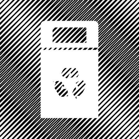 Trashcan sign illustration. Vector. Icon. Hole in moire backgrou