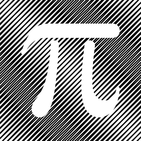 Pi greek letter sign. Vector Icon Hole in moire background.