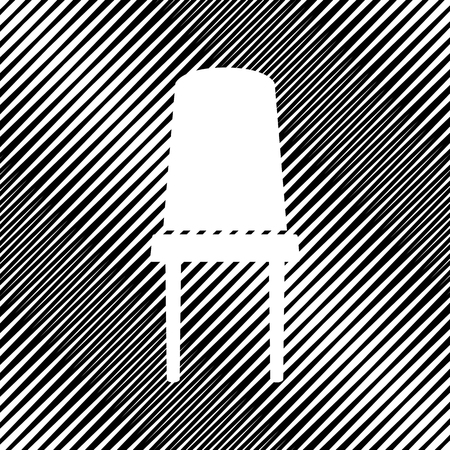 Office chair sign. Vector Icon Hole in moire background.