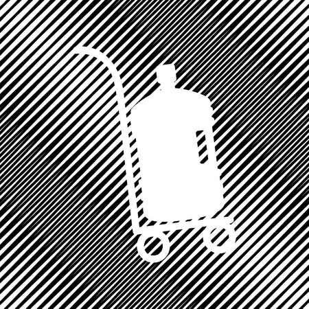 Plastic bottle silhouette with water. Big bottle of water on tra