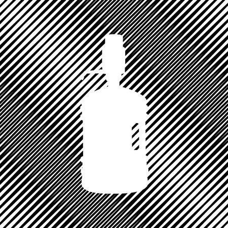 Plastic bottle silhouette with water and siphon. Vector. Icon. H Çizim