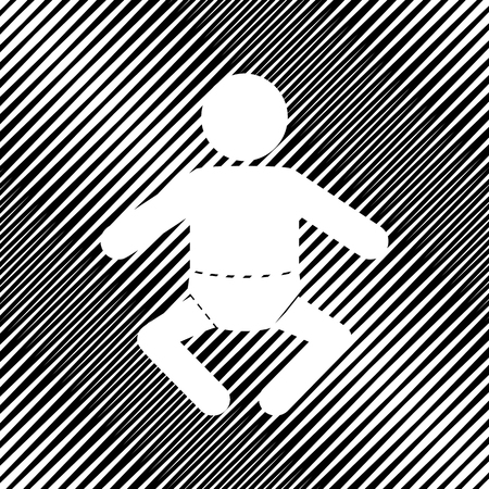 Baby sign illustration. Vector Icon Hole in moire background.  イラスト・ベクター素材