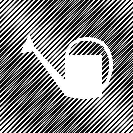 Watering can sign vector icon. Hole in moire background. Ilustração