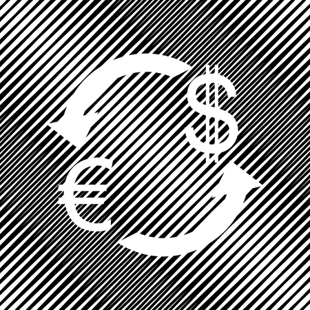 Currency exchange sign. Euro and Dollar. Vector. Icon. Hole in moire background.