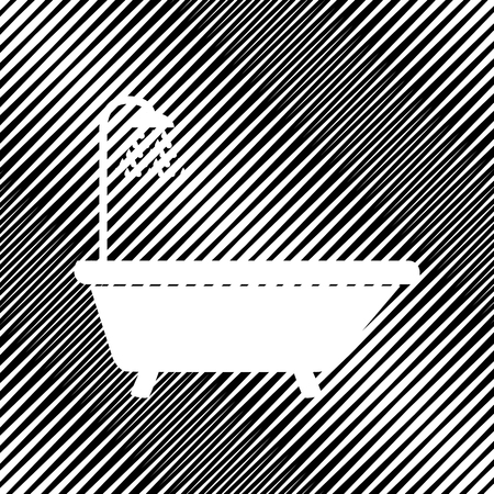 Bathtub sign. Vector Icon  Hole in moire background.