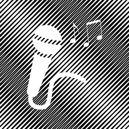Microphone sign with music notes. Vector icon. Hole in moire background