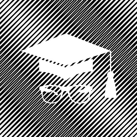 Mortar Board or Graduation Cap with glass. Vector icon. Hole in moire background.