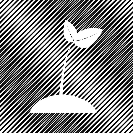Sprout sign illustration. Vector icon. Hole in moire background.
