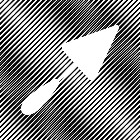 Trowel sign. Vector icon. Hole in moire background.