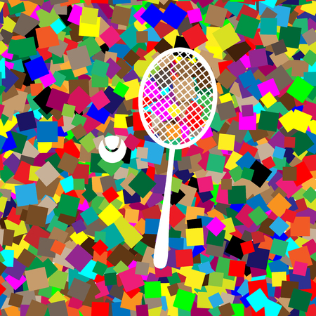 Tennis racquet with ball sign. Vector. White icon on colorful background