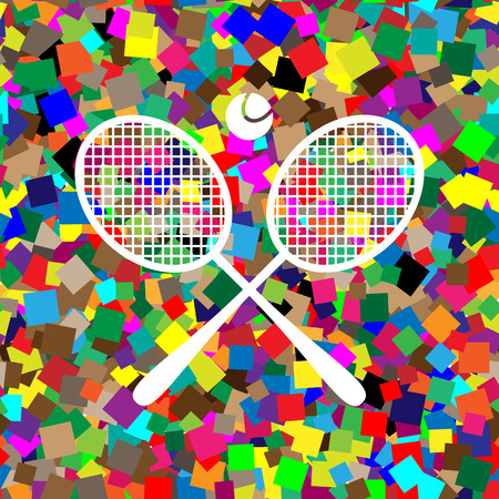 Two tennis racket with ball sign. Vector. White icon on colorful background Ilustração