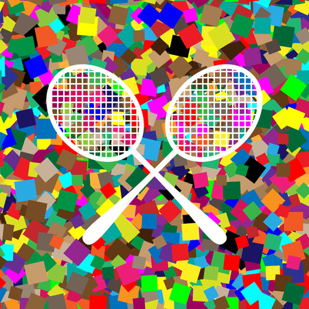 Two tennis racket sign. Vector. White icon on colorful background
