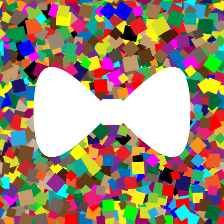 Bow Tie icon. Vector. White icon on colorful background