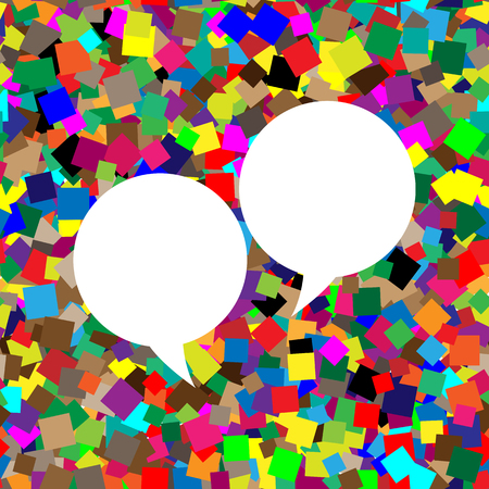 Two speech bubble sign. Vector. White icon on colorful background