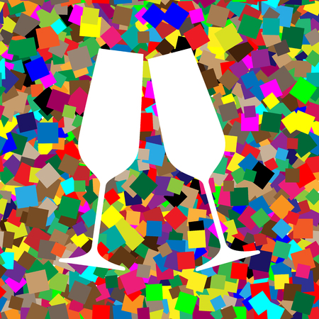 Sparkling champagne glasses. Vector. White icon on colorful background
