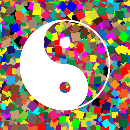 Ying yang symbol of harmony and balance. Vector. White icon on colorful background