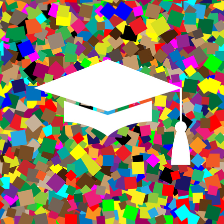 Mortar Board or Graduation Cap, Education symbol. Vector. White icon on colorful background