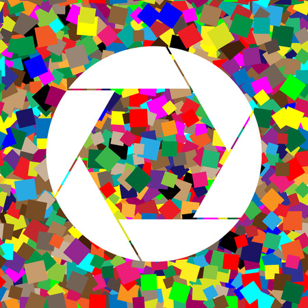Photo sign illustration. Vector. White icon on colorful background Illustration