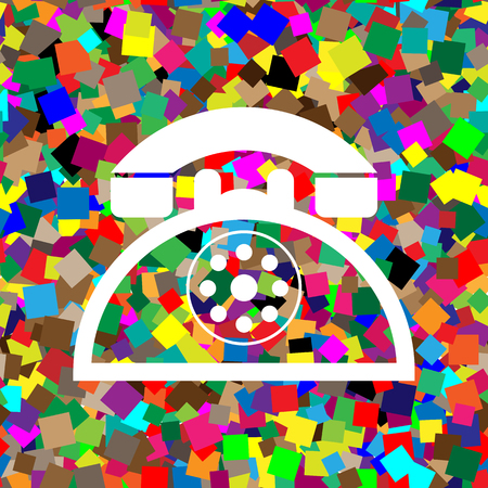 Retro telephone sign. Vector. White icon on colorful background Иллюстрация