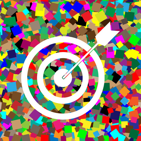 Target with dart. Vector. White icon on colorful background