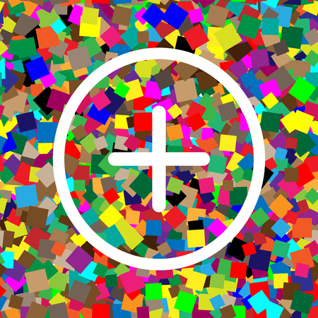 Positive symbol plus sign. Vector. White icon on colorful background.
