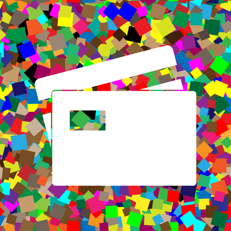 Credit Card sign. Vector. White icon on colorful background with