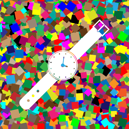 Watch sign illustration. Vector White icon on colorful background with seamless pattern from squares.