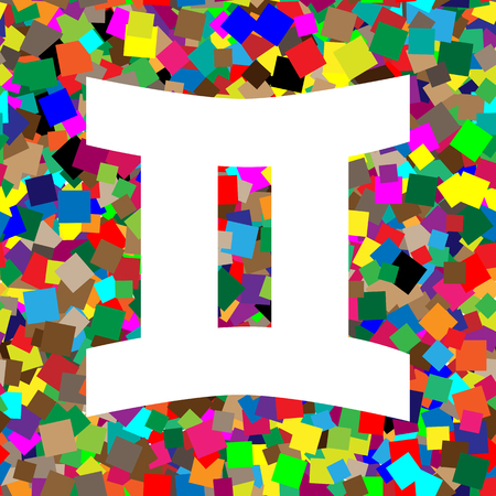 Gemini sign. Vector. White icon on colorful background with seamless pattern from squares.