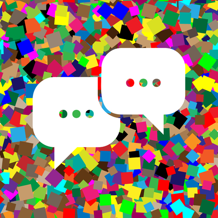Speech bubbles sign. Vector. White icon on colorful background w Ilustração