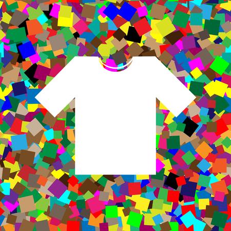 T-shirt sign illustration. Vector. White icon on colorful backgr