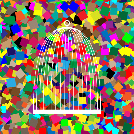 Bird cage sign. Vector. White icon on colorful background with s Ilustração