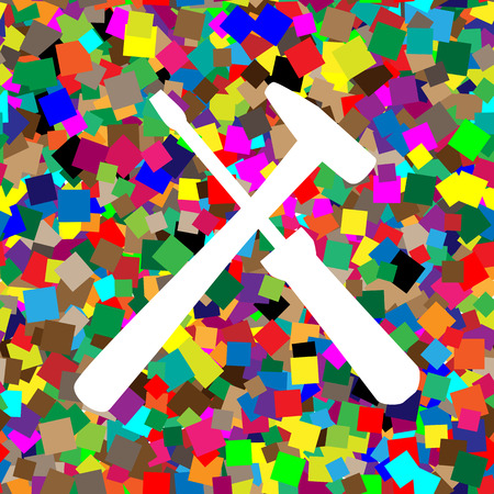 Tools sign illustration. Vector White icon on colorful background with seamless pattern from squares.