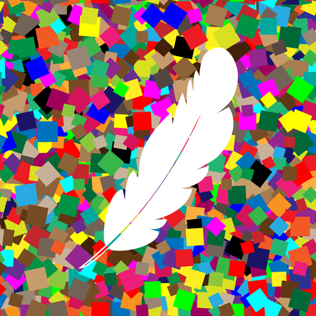 Feather sign illustration. Vector White icon on colorful background with seamless pattern from squares.