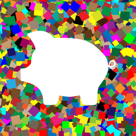 Pig money bank sign. Vector White icon on colorful background with seamless pattern from squares. Illustration
