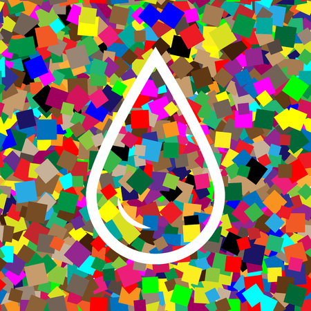 Drop of water sign. Vector. White icon on colorful background wi