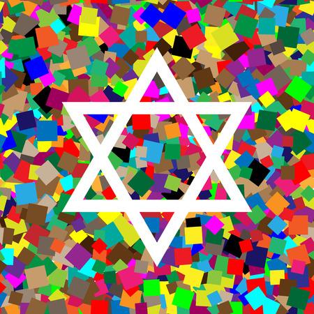 Shield Magen David Star. Symbol of Israel. Vector. White icon on
