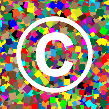 Copyright sign illustration. Vector. White icon on colorful back