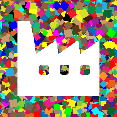 Factory sign illustration. Vector. White icon on colorful background with seamless pattern from squares.