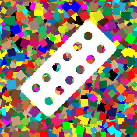 Medical Pills sign. Vector. White icon on colorful background with seamless pattern from squares. Illustration