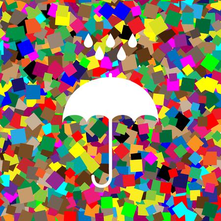 Umbrella with water drops. Rain protection symbol. Flat design