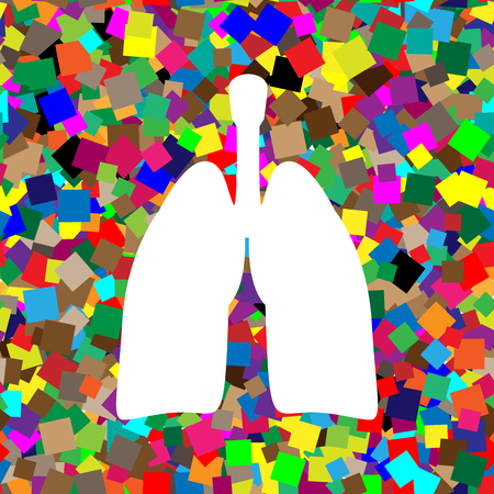 Human anatomy. Lungs sign. Vector. White icon on colorful background with seamless pattern from squares. Illustration