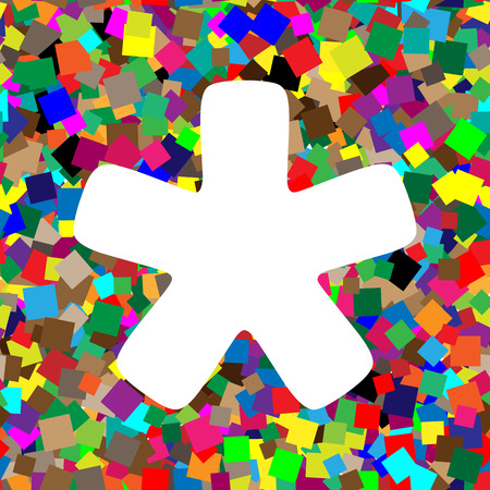 Asterisk star sign. Vector. White icon on colorful background